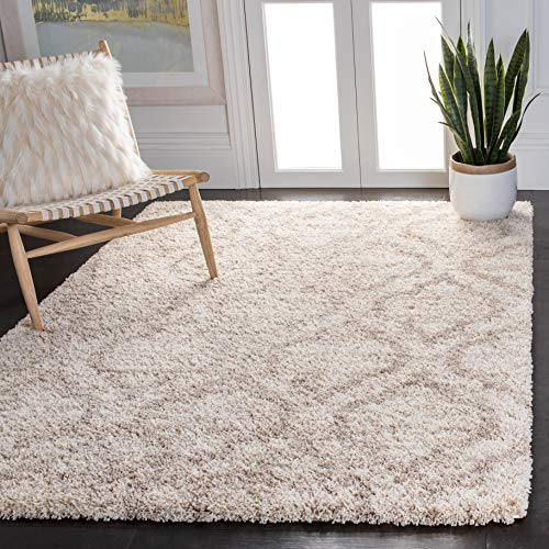 Safavieh Hudson Shag Collection SGH284E Moroccan 2-inch Thick Area Rug, 8' x 10', Multi Ivory / Beige