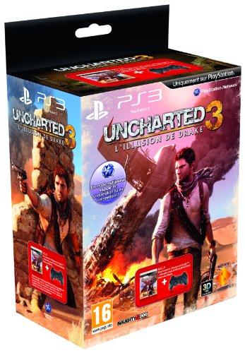 Manette PS3 Dual Shock 3 - noire + Uncharted 3 : l'illusion de Drake