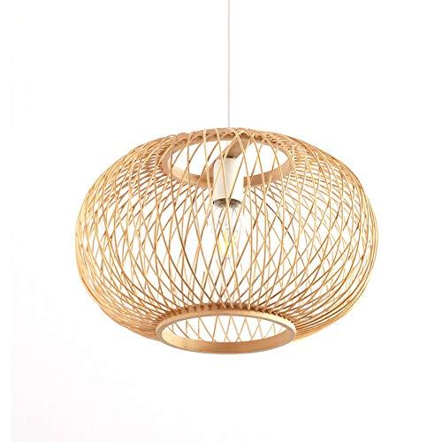 PGONE Lámpara De Araña De Bambú Redonda De Estilo Sudeste Asiático, Lámpara Colgante, Accesorio De Luz Hecho A Mano, Lámpara De Techo Colgante De Madera Natural, Accesorio E27