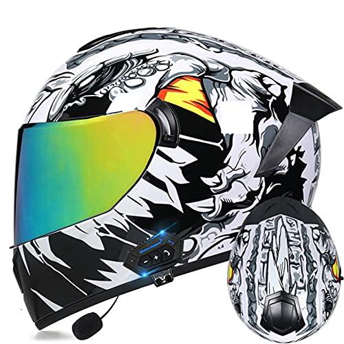 Casco De Motocicleta Bluetooth Integrado Homologado ECE Casco Moto Integral Casco De Scooter Con Doble Visera Solar Casco Para Moto Integral Para Mujer Y Hombre, Cascos De Ciclomotor H,M