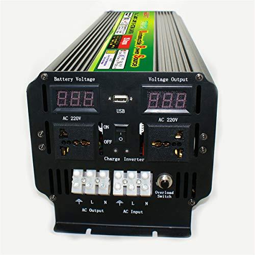SHIJING Inversor de energía UPS de 10000W (Pico) 12 / 24V a 220V para Pantalla LCD Recargable Solar/eólica Convertidor de Onda sinusoidal modificada de 5000 vatios