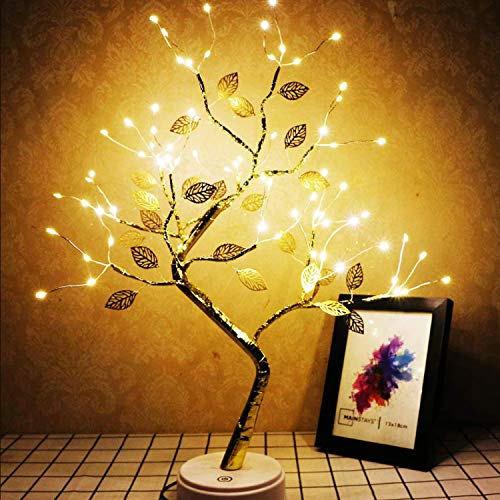 Tabletop Bonsai Tree Light with 36 LED Leaf Lights-USB/Battery Touch Switch, Fairy Spirit Light Tree Celtic Serenity, Artificial Lighted Tree Lamp for Living Room Home Decorations, Home Decor Gifts