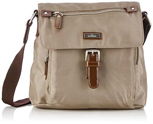 TOM TAILOR Umhängetasche Damen RINA Schultertaschen, Grau (Taupe 21), 22x20x10 cm, TOM TAILOR Handtaschen, Taschen für Damen