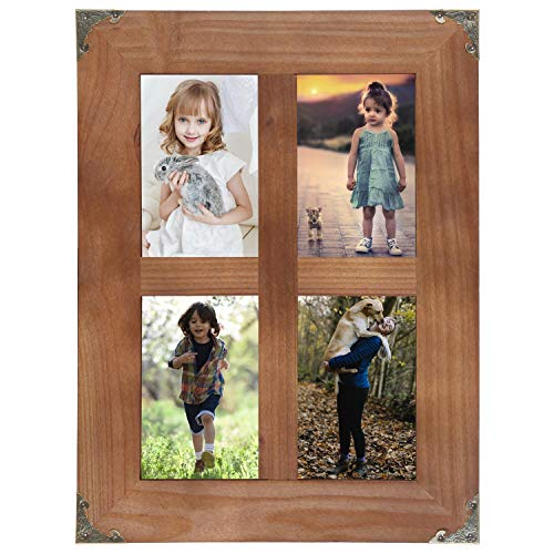 LOSOUR 4x6 Picture Frames Collage, Rustic Farmhouse Decor 4 Opening 4x6 Picture Frame With Decorative Metal Corners for Table Top Display and Wall Mounting Photo Frame (Brown, 16.2x12.2 inch)
