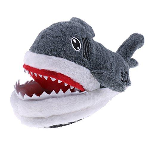 MagiDeal Große Hai Form Hausschuhe Plüsch Schlappen Tier Pantoffel Erwachsene
