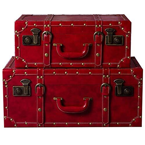 LERDBT Mesilla de Noche Caja de Almacenamiento de Equipaje de Mano de Maleta roja Grande (Color : Red, Size : 59X36X24)