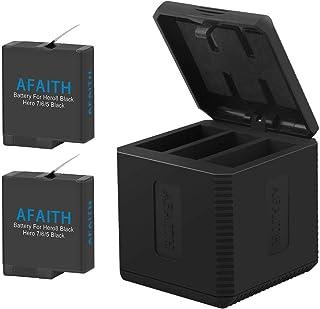 AFAITH Cargador de batería para Gopro Base de Carga Triple con 2 baterías de reemplazo Caja de Carga múltiple Tipo-C Organizador de Almacenamiento de batería para GoPro Hero 8/7/6/5 BlackHero 2018