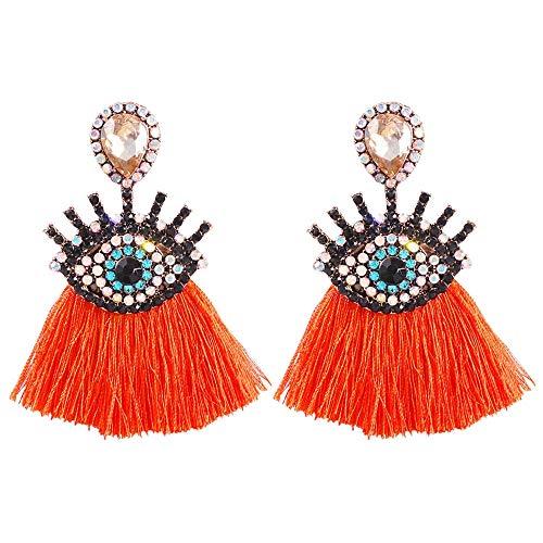 Llegada Vintage mal ojo borla pendientes estilo bohemio estilo étnico largo flecos pendientes mujeres joyería