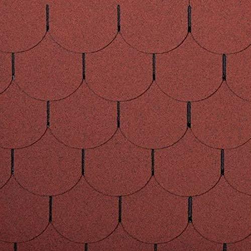 1m² Biberschwanz Bitumenschindeln 7 Stück ziegelrot Dachschindel Bitumendachschindel Bitumen Dach Abdichtung