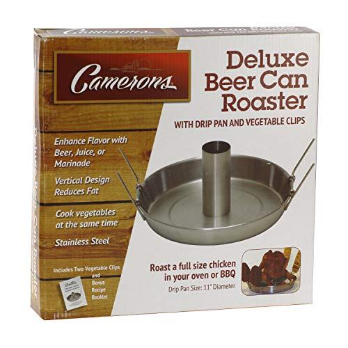 Camerons Bierdosenbräter – Edelstahl Hühnchen Beeroaster Deluxe mit Rezeptanleitung – kocht Fleisch und Gemüse gleichzeitig