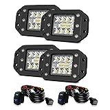 "Flush Mount LED Pods, 4pcs 4"" 5"" Driving Lights LED Work Light Flush LED Light Bar Super Bright Fog Lights Off Road Lights For Truck SUV Boat 4x4 Grill Mount"