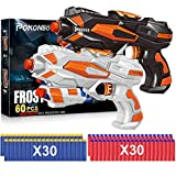 POKONBOY 2 Pack Blaster Guns Toy Guns for Boys Girls with 60 PCS Refill Soft Foam Darts for Kids Birthday Gifts Party Favors Hand Gun Toys for 6 7 8 Year Old