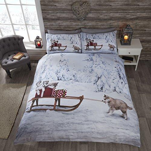 Beddengoedset met Husky-motief, hondenwelpen met slee in de sneeuw, dekbedovertrek en 2 kussenslopen, meerkleurig