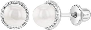 925 Sterling Silver White Simulated Pearl Screw Back Earrings Girls Teens