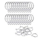Hundred excellent 24 Pack Metal Curtain Drape Sliding Eyelet Rings (1.26 Inch Interior Diameter ) (Silver)