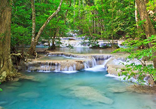 wandmotiv24 Fototapete Wasserfall Strom Wald Kanjanaburi , S 200 x 140cm - 4 Teile, Fototapeten, Wandbild, Motivtapeten, Vlies-Tapeten, Asia Wasser Fluss Thailand M4843