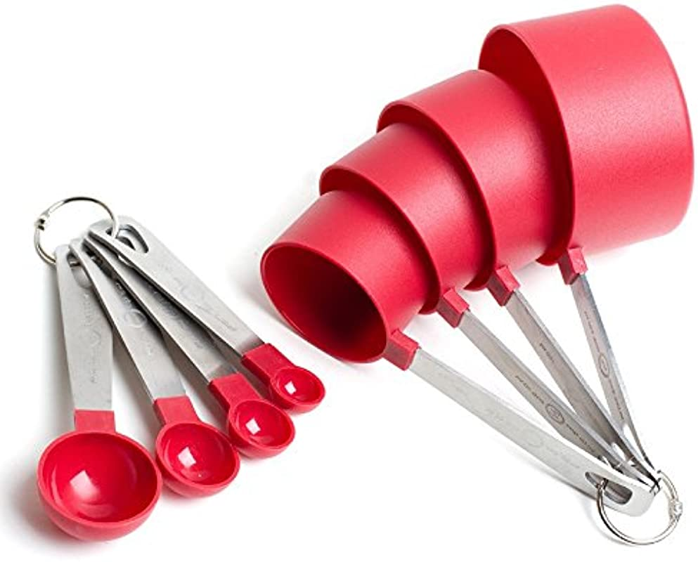 Cook S Corner 488RD 8PC Measuring Cups And Spoons Set Red