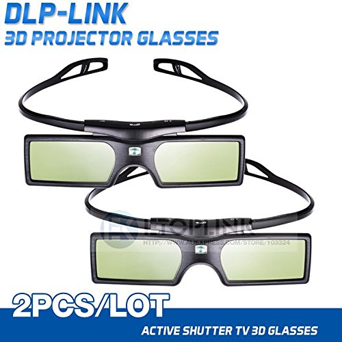 Pergear 144Hz 3D DLP-Link Active Shutter Glasses For Optoma/BenQ/Acer/LG/Sharp/Vivitek/Dell/ViewSonic/NEC/CASIO Projectors (2 Pcs), [Importado de UK]