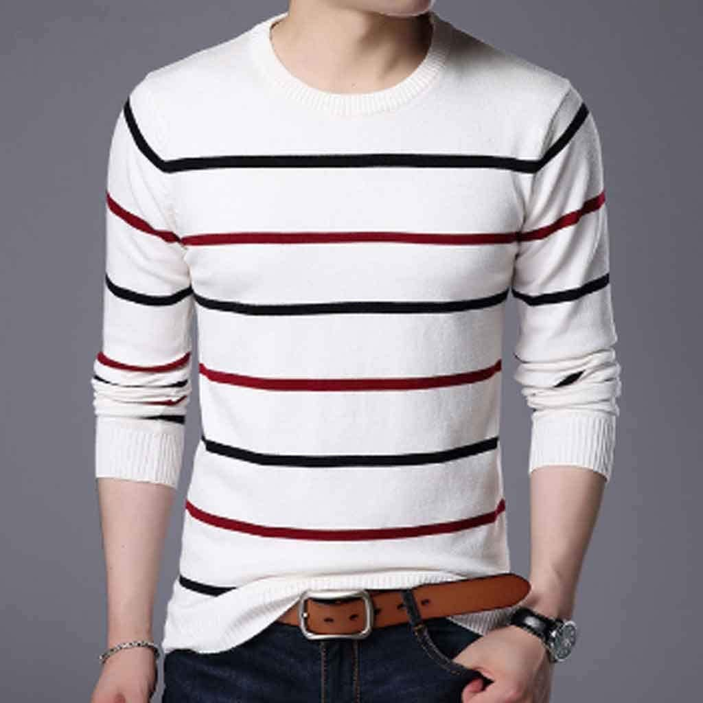 ZYING Pullover Men Autumn Winter Wool Slim Fit Sweater Men Casual Striped Pull Jumper Men (Color : White)