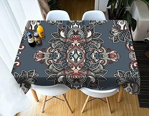 XXDD Mantel Simple 3D patrón de Flores Bohemias decoración del hogar Mantel Rectangular Cubierta de Mesa a Prueba de Polvo A6 140x180cm