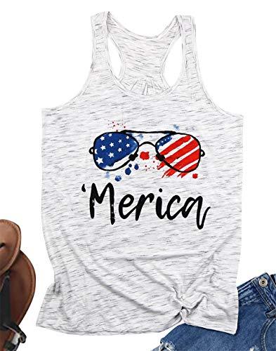FLOYU American Flag Tank Top Women Merica Letters Sunglass Graphic Print Casual Sleeveless 4th of July Shirt (White, Medium)