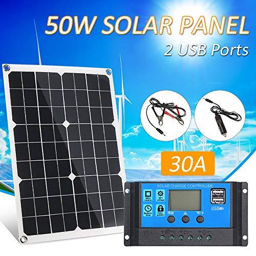 Lilideni 50 W CC 5 V / 18 V Pannello solare a doppia uscita con 2 porte USB e ricarica per auto IP65 Resistenza all\'acqua 12V / 24V Regolatore di carica solare Regolatore intelligente PWM