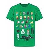 Minecraft - Camiseta Oficial diseño Personajes Sprites para niños (12-13 Años/Verde)