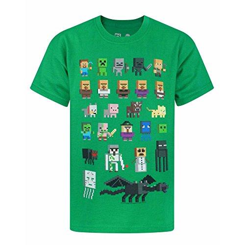 Minecraft Sprites Boy – Camiseta de Manga Corta para Mujer Verde Verde 7-8 Años
