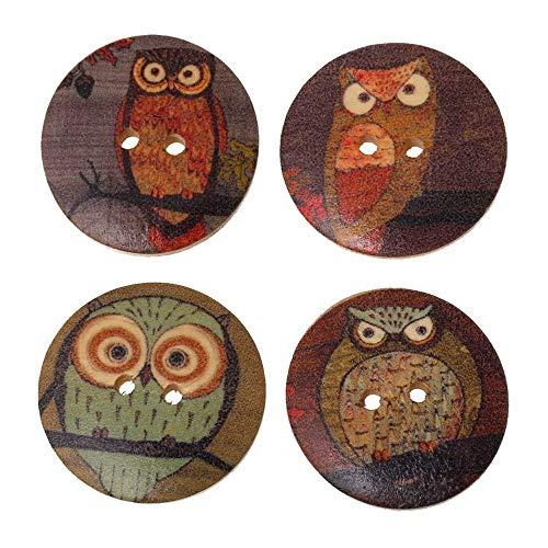 Premium Qualität 25x gemischte Holz Knöpfe Eule Cartoon Muster Nähen Scrapbook DIY - zufällige FarbeCarry Stone
