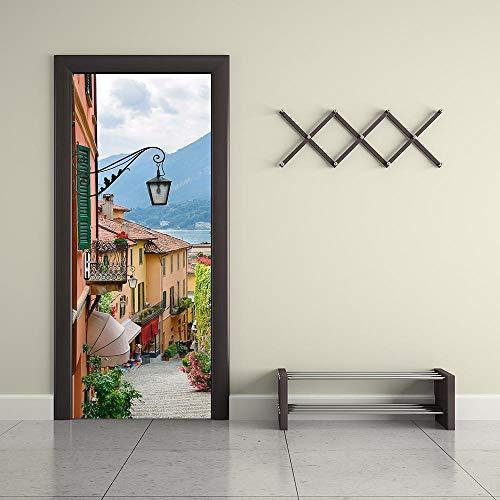 BXZGDJY deurbehang Lake Town Street Bonsai 77X200cm deurbehang zelfklevend deurposter, zelfklevende 3D-deur-raam-behang-aftrekplaatjes, verwijderbare deur decoratieve plakfolie voor doe-het-zelvers