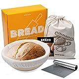 Eco-Pals | 9 inch Bread Banneton Proofing Baskets for Sourdough Bread + Dough Scraper + Linen Bread...