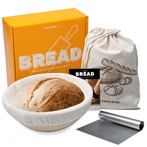 Eco-Pals | 9 inch Bread Banneton Proofing Baskets for Sourdough Bread + Dough Scraper + Linen Bread Bags | Brotform French Artisan Baking Supplies Baking Set+ Easy Sourdough Bakery Bread Recipe