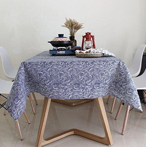 Nappe en lin coton bleu marine Wave pour décoration de cuisine , 60*60cm