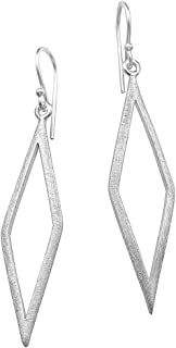 Silber Ohrhänger mit Glaskristall Dreieck Raute Karo Ohrringe Paar 4 Varianten