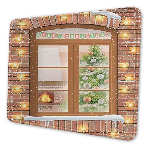 Rechthoekige Mousemat Mousepad, Zicht Door een raam op Het interieur van een kerst woonkamer en een open haard
