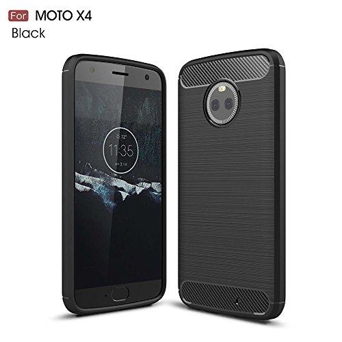 GOGME Motorola Moto X4 Hülle, Silikon TPU Schale [Carbon Fiber Series] Flexibles TPU Anti-Scratch Super Weiche Schutzhülle für Motorola Moto X4, Schwarz
