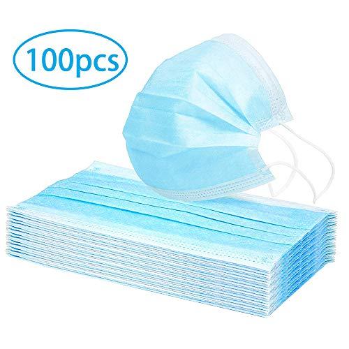 100 Stuks Chirurgisch Wegwerp Gezichtsmaskers met Oorlussen Voor Kinderen Volwassenen Medische Sanitaire Maskers Professionele Anti-stof Oorlus Mondmasker (Blauw en Wit)