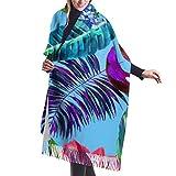 Women Girls Island Style Floral Summer Beach Surf With Tropical Leaf Scarves Pashmina Wrap Shawls, Chunky Infinity Evening Dresses Shawl Wrap - 77x27 inch, Winter Elegant Blanket