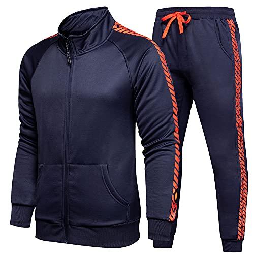Men's Tracksuit 2 Piece Jacket & Pants Jogging Athletic Suit Casual Full Zip Sweatsuit, Blue-L