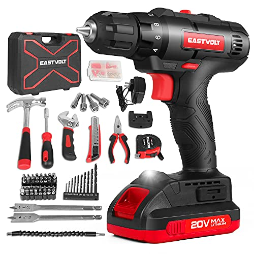 Eastvolt 20V Max Cordless Power Drill Driver Kit & Home Tool Kit, Max 310in.lbs. 18+1 PoisitionTorque Drill For Metal, Wood, Plastics, 168 Pieces tool with case For General Household (EVCD168S)