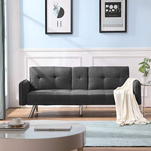 Merax Futon Bed Couch, Modern Sofa Sleeper Design for Living Room or Bedroom, Including Metal Legs and Upholstery Sofabed, Dark Grey