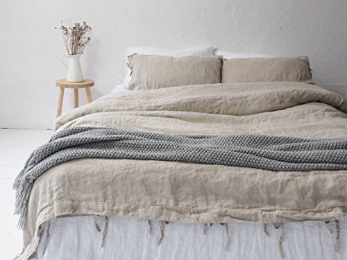 Natural LINEN DUVET COVER with ties, handmade in Poland. All sizes available.