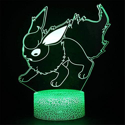 Flareon - Lámpara de noche para niños, 3D, 16 colores, con mando a distancia, modelo de muerte, creativo, decoración de dormitorio, regalo de cumpleaños, ideal para niños, niños y hombres