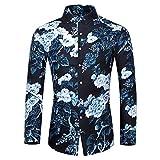 Men Casual Shirts Long Sleeve Button-Down T-Shirts Floral Printed Hawaiian Dress Shirts Blue
