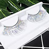 Dorisue Halloween lashes Silver eyelashes glitter eyelashes Princess cosplay eyelashes silver-white False Eyelashes Extension for Women Girls P24