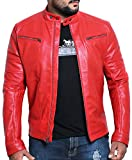 Laverapelle Men's Genuine Lambskin Leather Jacket (Red, Large, Polyester Lining) - 1501476