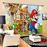 lubenwei Cortinas Opacas - Impresión 3D Super Mario Anime - Cortinas con Ojales - Reducción De Ruido De Aislamiento,250(H) x150(An) Cmx2 Paneles/Set (A-2703)