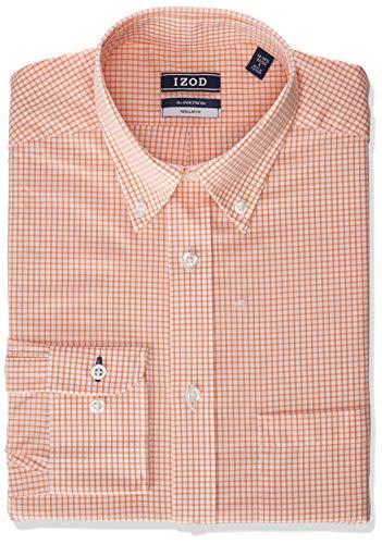 IZOD Men's Dress Shirt Regular Fit Stretch Button Down Collar Check, Tangerine, 17'-17.5' Neck 34'-35' Sleeve (X-Large)