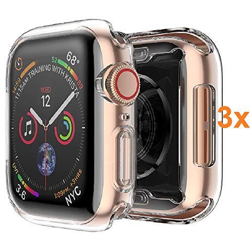 REY Cover in Gel TPU Trasparente per Apple Watch Series 5 44mm - Series 4 44mm, Ultra Sottile 0,33 mm, Morbido Flessibile, Custodia Silicone, (Pack 3X)