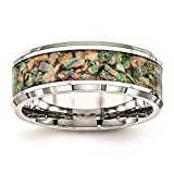 Ryan Jonathan Fine Jewelry Anillo de acero inoxidable con ópalo de imitación de 8 mm, talla Z+1